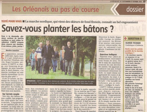 Marche Nordique article de presse La Republique du Centre 08102013
